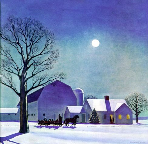 Moonlight Sleigh Ride by Rockwell Kent